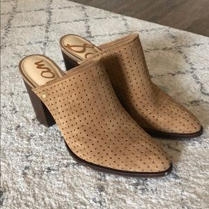 Sam Edelman perforated suede mules